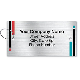 Personalized Brushed-Silver Automotive Key Tags - Design 1