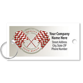 Personalized Full-Color Key Tags - Quality Auto Repair - Checkered Flags