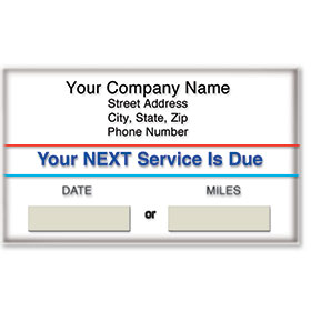 Standard Static Cling Service Reminders - Your Next Services is Due
