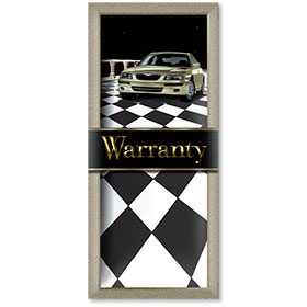 Full-Color Foil Car Service Warranty - Checkered Design