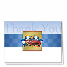 Full-Color Automotitve Thank You Cards - Checkered Flag