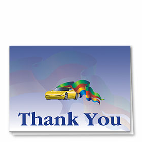 Full-Color Automotitve Thank You Cards - Sports Car & Flag