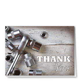 Full-Color Automotitve Thank You Cards - Rustic Tools