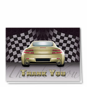 Full-Color Automotitve Thank You Cards - Checkered Flag II