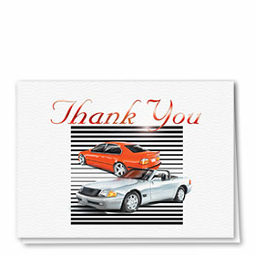 Foil Automotive Thank You Cards - Sports Cars