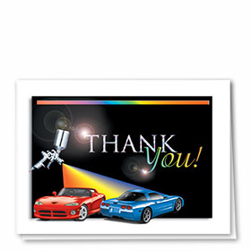 Foil Automotive Thank You Cards - Rainbow Spray