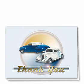 Foil Automotive Thank You Cards - Classic Cars