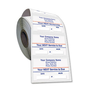 Standard Static Cling Service Reminders on a Roll - Your Next Service is Due