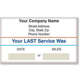 Standard Static Cling Service Reminders - Your Last Service Was