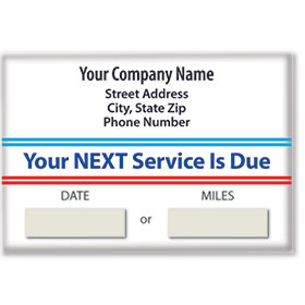 Jumbo Adhesive Service Reminder Stickers - Your Next Service is Due