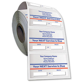 Jumbo Adhesive Service Sticker on a Roll - Your Next Service is Due