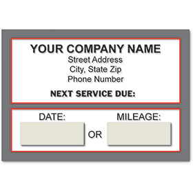 Jumbo Adhesive Service Reminder Stickers - Next Service Due