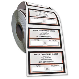 Jumbo Adhesive Service Sticker on a Roll - Next Service Due