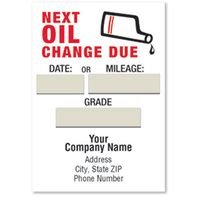 Jumbo Adhesive Service Reminder Stickers - Next Oil Change Due