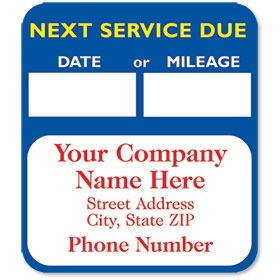 High-Visibility Personalized Service Reminder Stickers - Next Service (Blue)