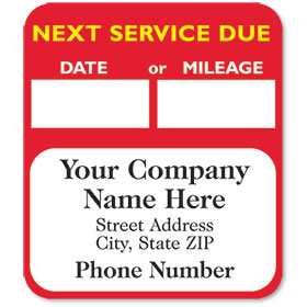 High-Visibility Personalized Service Reminder Stickers - Next Service (Red)