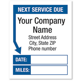 White Static Cling Service Reminder Stickers - Next Service Due - Dsg 1