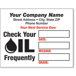 White Static Cling Service Reminder Stickers - Check Oil Frequently