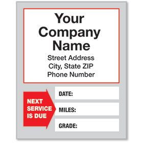 White Static Cling Service Reminder Stickers - Next Service is Due - Dsg 1