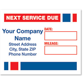 White Static Cling Service Reminder Stickers - Next Service Due - Dsg 2