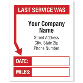 White Static Cling Service Reminder Stickers - Last Service Was - Dsg 1