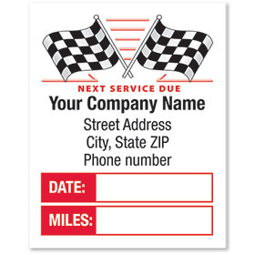 White Static Cling Service Reminder Stickers - Checkered Flags