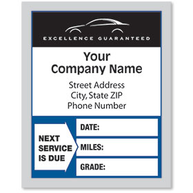 Clear Static Cling Service Reminder Stickers - Next Service is Due - Dsg 2