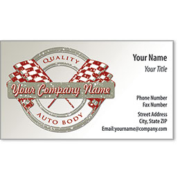 Designer Automotive Business Cards - Quality Flags Auto Body