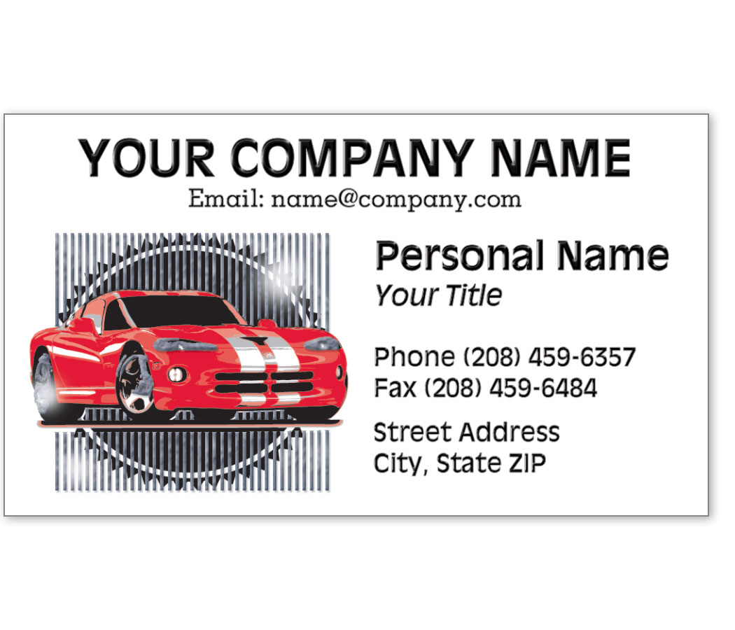 Automotive Business Cards with Foil - Red Racer