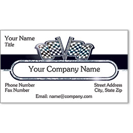 Automotive Business Cards with Foil - Silver Flags