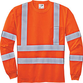 C/S T-Shirt LS Safety ANSI 107 Class 3 Snag-Resistant Reflective