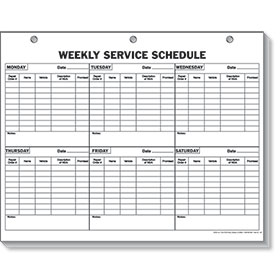Weekly Service Schedule Pad