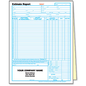 2-Part Auto Body Estimate Forms - Estimate Report - Pre-Numbered