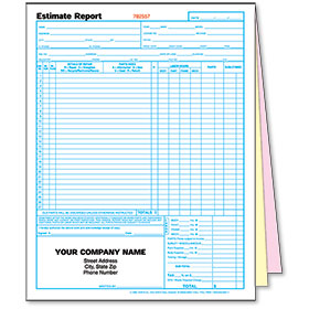 3-Part Auto Body Estimate Forms - Estimate Report - Pre-Numbered