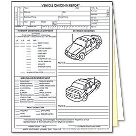 3-Part Vehicle Check-In Report - 4-Door Car