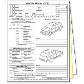 3-Part Vehicle Check-In Report Sport Utility