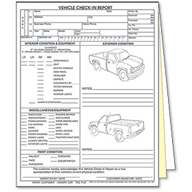 3 Part Vehicle Check In Report Truck Auto Body Supplies