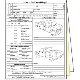 3 Part Vehicle Check-In Report 4-Door Truck