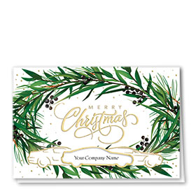 Personalized Premium Foil Auto Holiday Cards - Wreath Encounter