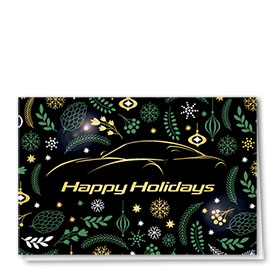 Personalized Premium Foil Auto Holiday Cards - Art Deco Greeting
