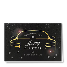 Personalized Premium Foil Auto Holiday Cards - Opulent Wishes