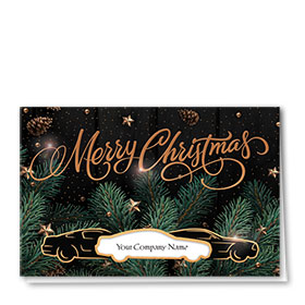 Personalized Premium Foil Auto Holiday Cards - Copper Cone