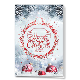 Personalized Premium Foil Auto Holiday Cards - Ruby Bulb