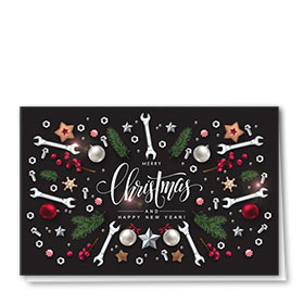 Personalized Premium Foil Auto Holiday Cards - Glimmering Tools