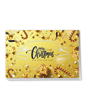 Personalized Premium Foil Auto Holiday Cards - Golden Ambiance