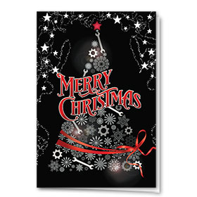 Personalized Premium Foil Holiday Card - Ornate Tree