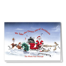 Personalized Deluxe Full-Color Automorive Holiday Cards - Dents Out