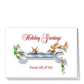 Personalized Deluxe Full-Color Automorive Holiday Cards - Wrench Play