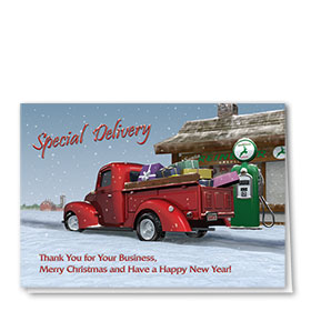 Personalized Deluxe Full-Color Automorive Holiday Cards - Special Delivery II
