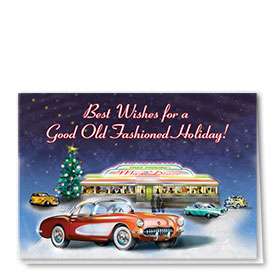 Personalized Deluxe Full-Color Automorive Holiday Cards - Holiday Diner